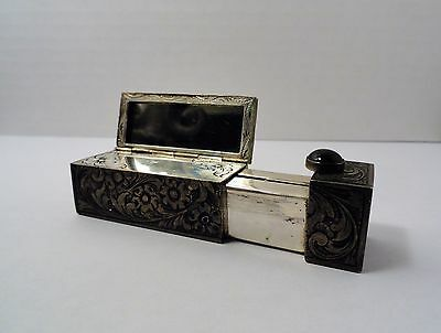 Vintage 800 Silver Lipstick Holder/Case - with Flip-Out Mirror