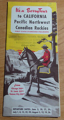 1950 Berrytour California Pacific Northwest & Canadian Rockies Travel Brochere