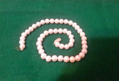 """Vintage 7mm 48 Japanese Cultured Pinkish Pearls 17.5"""" Necklace 14k Gold Clasp"""