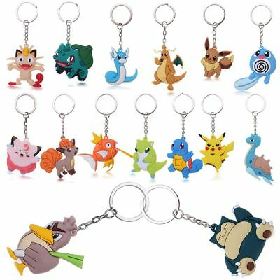 Silicone Rubber 3D Cute Pokemon Go Pikachu Pendant Key Ring Keychain Holder Toys