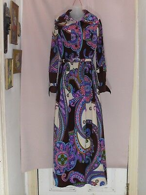 1960's/70's Vintage Long Sleeved Maxi Dress in Bright Abstract Floral.