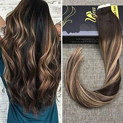 HOT 7A Balayage Brown with Highlight Blonde Tape in Human Hair Extensions 20pcs