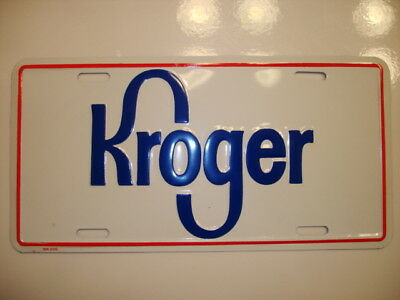 Vintage Kroger Grocery Stores Metal License Plate NEW OLD STOCK Unused Tag