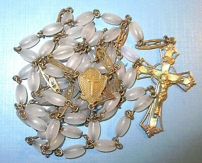 "Vintage 28"" Brass Rosary With Dark Grey Glass Beads And Extenders Holy Cross Old"
