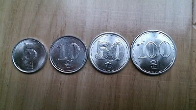 korea (5、10、50、100)Won,2005,4 coins,UNC