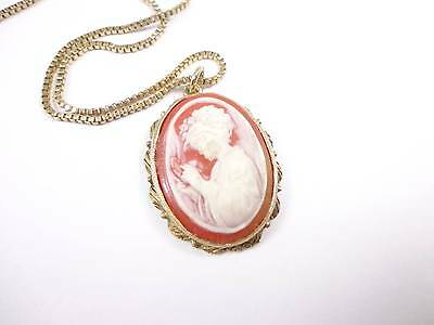 Vintage gold tone short chain red beige cameo pendant