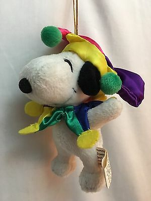 "CHRISTMAS Curt Adler SNOOPY PEANUTS Plush Stuffed 6"" ORNAMENTS JESTER"