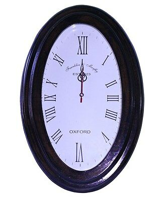 Oval Shape Vintage Antique Wooden Wall Clock Indian Home Decor