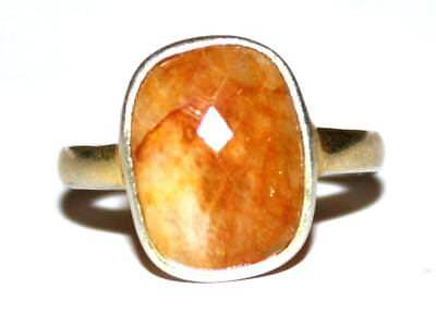 Memoria Solid 925 Silver With Gold Overlay Carnelian Gemstone 3gm Ring Size US 5