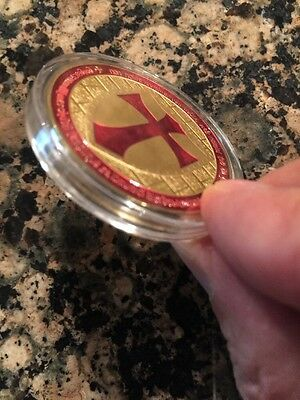 1 OZ 100 MILLS .999 Fine Gold Masonic Cross Knights Templar Coin