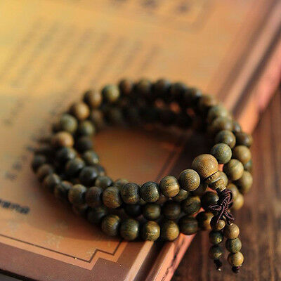 1PC Sandalwood Buddhist Meditation 8mm*108 Prayer Bead Mala Bracelet Necklace