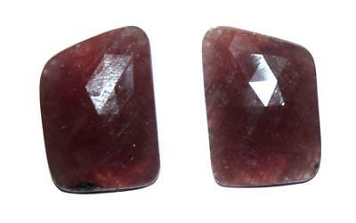 Memoria Natural Gemstone Ruby 29.5 Cts Free Form 15X20mm Fine Faceted Slice Pair