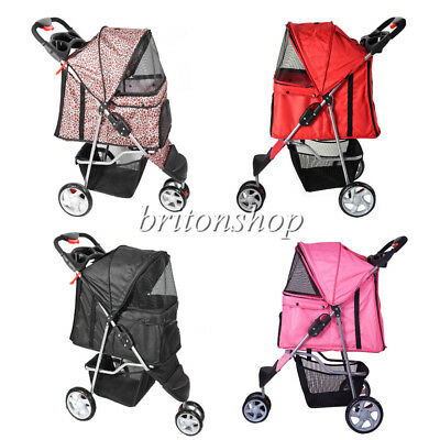 Dog Cat Puppy Pet Travel Stroller Pushchair 3 Wheels Pram Jogger Buggy Swivel UK