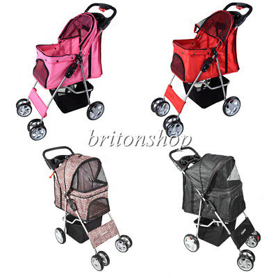 Dog Cat Puppy Pet Travel Stroller Pushchair 4 Wheels Pram Jogger Buggy Swivel UK