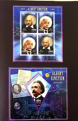 2 Chad Sheet Imperforated With Atom And Einstein