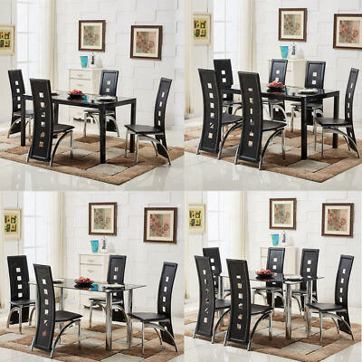 Matte/Chrome Rectangle Black Glass Dining Table and 4/6 Black Chairs Chrome Legs