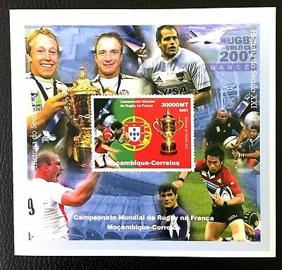 1 Mozambique Sheet Imperforated With Space And Rugby World Cup