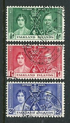 Falkland Islands: 1937 George VI Coronation Set of 3 Stamps SG143-145 Used AW295