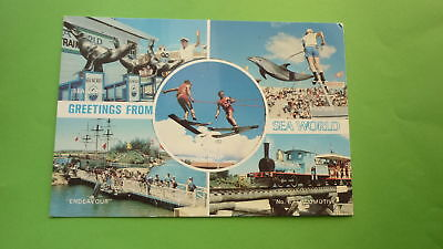 OLD 1970s AUSTRALIAN POSTCARD, GOLD COAST QLD, VIEW OF SEA WORLD ATTRACTIONS