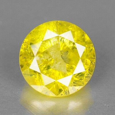 Yellow Diamond Round 0.79 cts Loose Diamond Fancy Natural F717