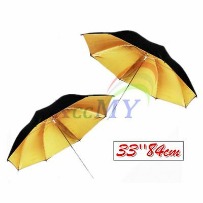 "Pro Photo 33""84cm Black/Gold Studio Collapsible Umbrella Diffuser Reflector 2Pcs"