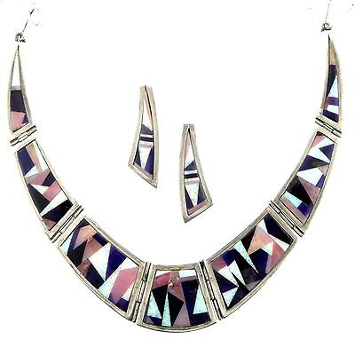 Gertrude Zachary Navajo Billy Sterling Silver Chip Inlay Necklace Earring Set