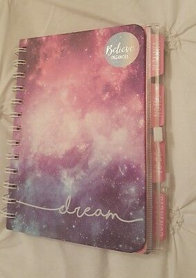 'Dream' Hardback Organiser. New. Planner, Notes, To Do, Contacts. Purple & pink