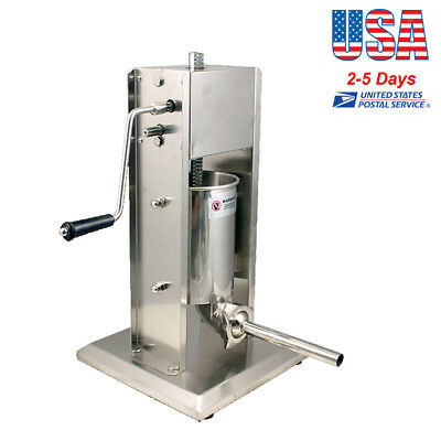 5L Vertical Commercial Sausage Stuffer 15LB 304 Stainless Steel Meat Press【US】