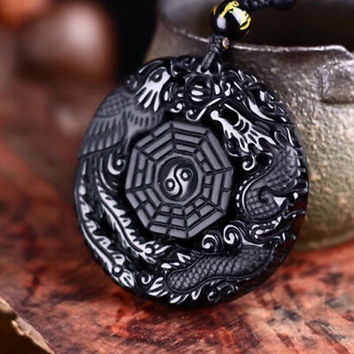 """Natural Obsidian Hand Carved """"Dragon Phoenix Tai Chi Gossip"""" Necklace Pendant AA"""