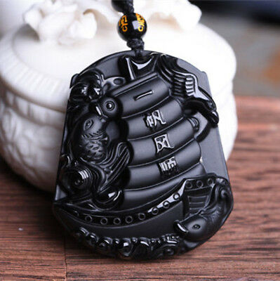 Chinese Natural Obsidian Folk Pure Hand Carved Sailing Necklace Pendant