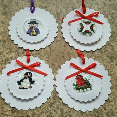 4 Completed hand crafted cross stitch Xmas gift tags, card toppers