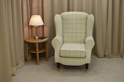 High Wing Back Fireside Chair Grey Check Fabric Easy Armchair + Front Castors UK