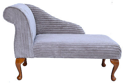 """41"""" Small Chaise Longue Lounge Sofa Bench Chair Seat Mink Cord Fabric Queen Anne"""
