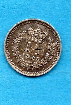 1843 Threehalfpence Silver Coin. Queen Victoria.