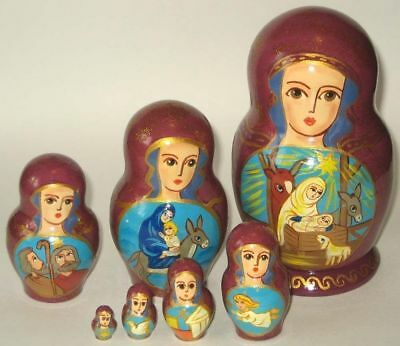 Nativity Scenes  Russian nesting dolls 7pc Handmade Art LooK!!!