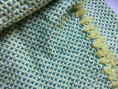 VINTAGE WELSH THROW BLANKET. HAND LOOMED. 160 x230 cms. GREEN YELLOW CREAM
