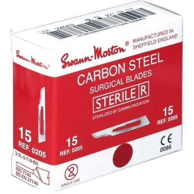 Genuine Swann Morton Sterile Carbon Steel Surgical Blades - Red Box  No. 15