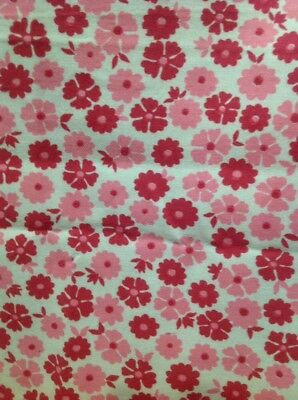 Retro Brushed Cotton Fabric Pink Floral 90 Cm X 230 Cm