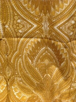 Retro Vintage Cotton Fabric Gold Paisley 95 Cm X 190 Cm