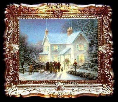 DOLLS HOUSE MINIATURE PICTURE CHRISTMAS SNOW SCENE LIVING DINING ROOM. No153