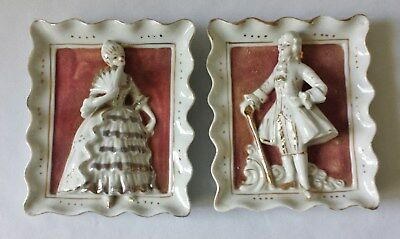 Matching Pair Of Lovely Vintage C1960's Porcelain China Wall Hanging Ornaments
