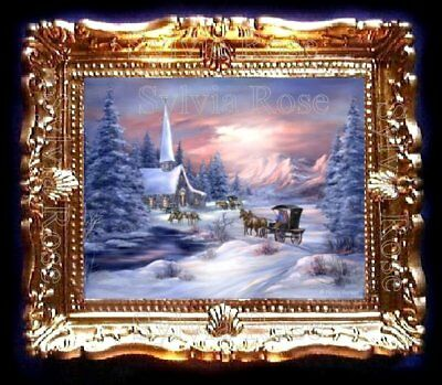 DOLLS HOUSE MINIATURE PICTURE CHRISTMAS SNOW SCENE LIVING DINING ROOM. No155