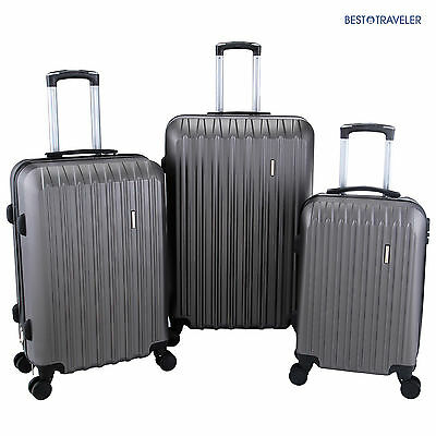 3Pcs Luggage Travel Set Bag TSA Lock ABS Trolley Spinner Carry On Suitcase Grey