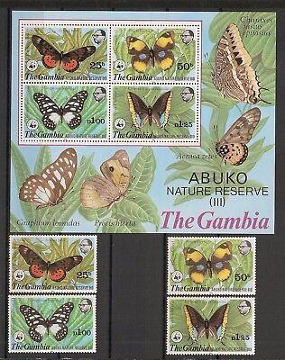 Gambia 1980 WWF Insects Butterfly Schmetterlinge Papillons complete set + MS MNH