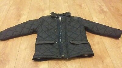 **next Boys 4-5 Years Fully Lined Barbour Style Navy Jacket Coat Winter**