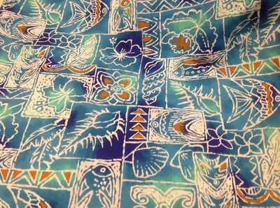 Retro Fine Poly Cotton Fabric Blue Tropical Fish 112 Cm X 200 Cm