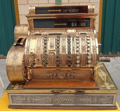 ANTIGUA espectacular caja registradora NATIONAL funciona 1904 old cash register