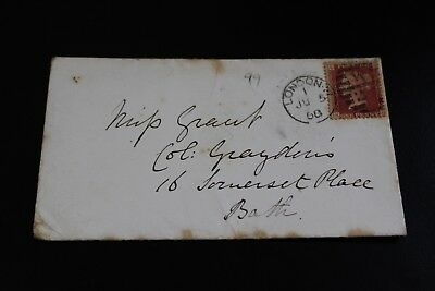 Antique 1868 London To Bath Penny Red Stamp Envelope (2)