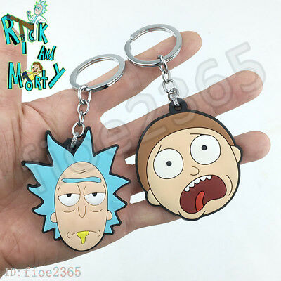 Cartoon Rick and Morty Keychain Silicone Pendant Key ring Character Charms Gift