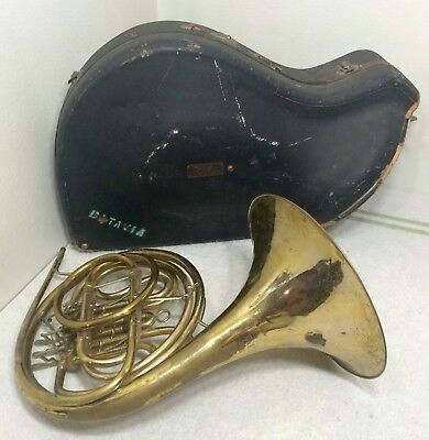 Antique French Horn King H.n. White Brass Instrument Band Cleveland Ohio Usa 1